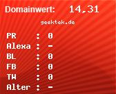 Domainbewertung - Domain geektek.de bei Domainwert24.de